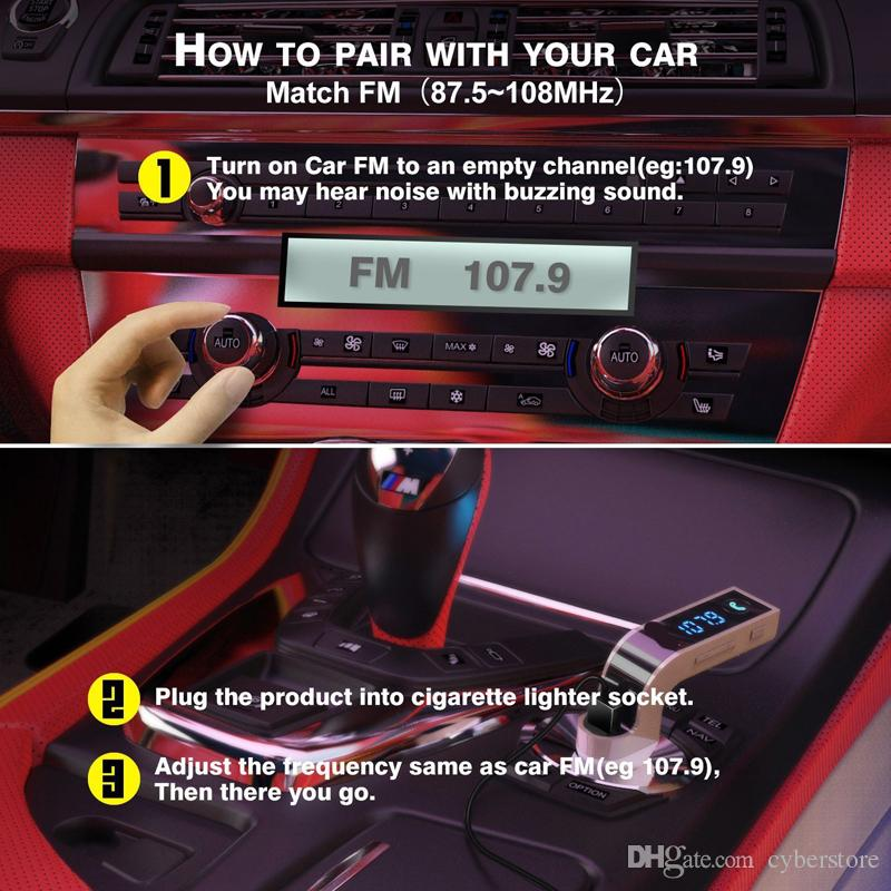 G7 FM Transmitter Multifunction 4-in-1 CAR Bluetooth with USB MP3 Player flash drives TF Radio with LCD Display Mic Hot sell