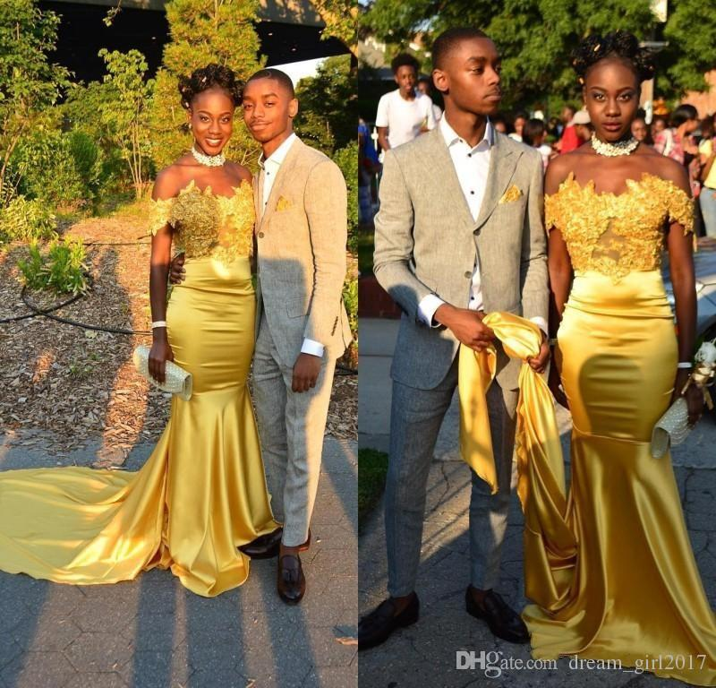 Off The Shoulder Yellow Mermaid Prom Dresses 2018 Black Girls Silk ...