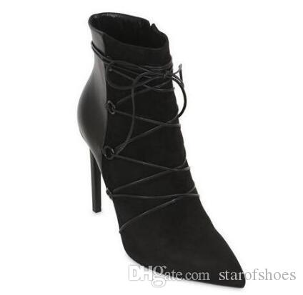 2018 nuove donne stivali gladiatore punta punta patchwork caviglia bota lace up stivaletti in pelle scamosciata stivaletti tacco sottile 12 cm scarpe eleganti