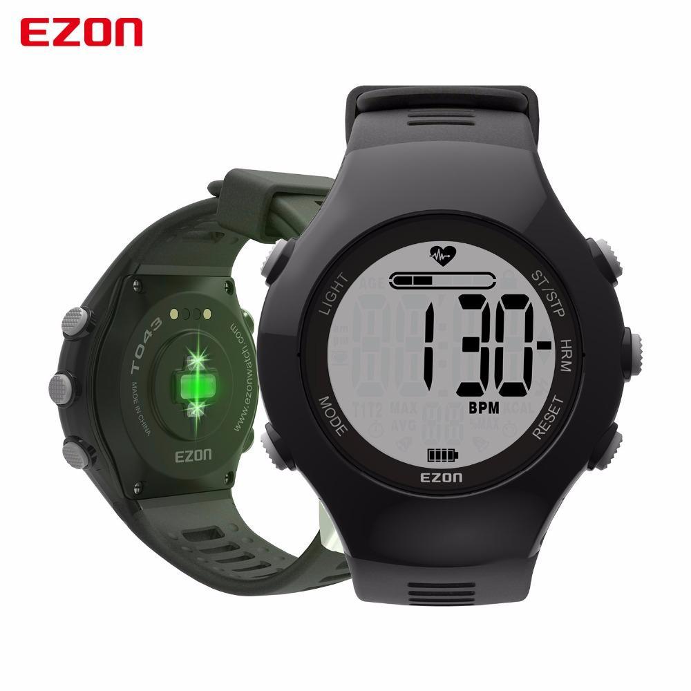 7fe896514354 Compre Ezon T043 Relojes Inteligentes Sensor Óptico Monitor De Ritmo  Cardíaco Fitness Reloj Digital Podómetro Contador De Calorías Hombres  Mujeres Reloj ...