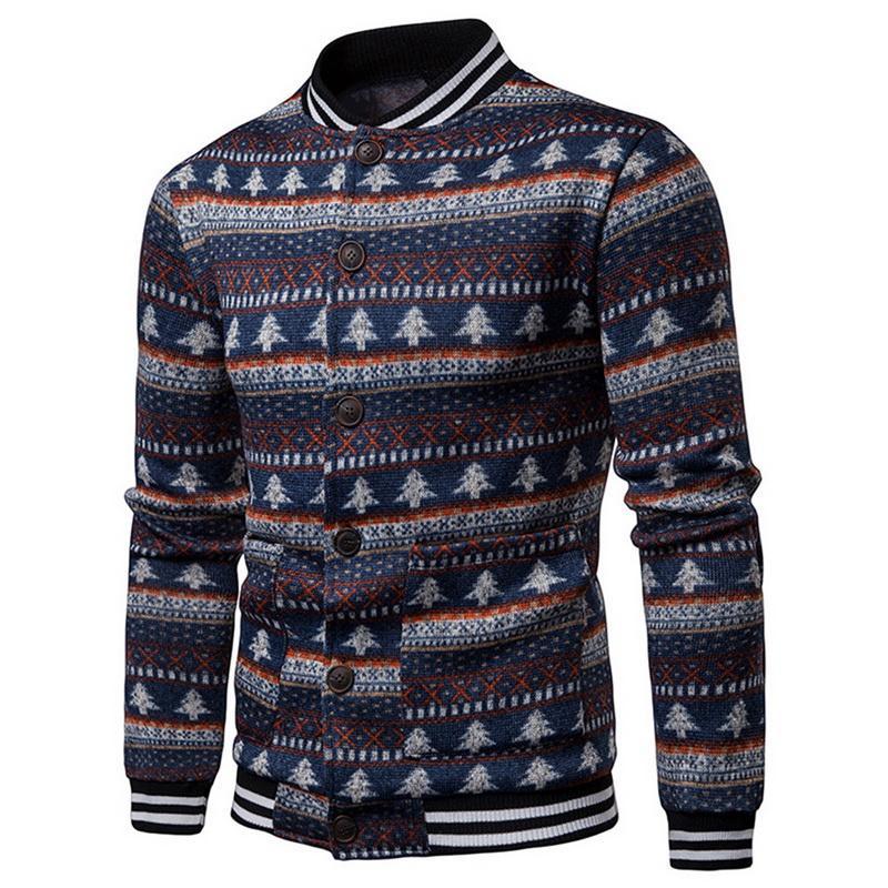 Compre CALOFE 2018 Popular Suéter Hombres Marca Árbol De Navidad De  Impresión Suéter Cardigan Masculino Delgado Para Hombre Cardigan Coat A   32.29 Del ... f6c340954347