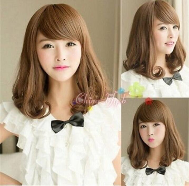 Womens Girls Lovely Medium Long Curly Wavy Full Wigs Japanese Rinka