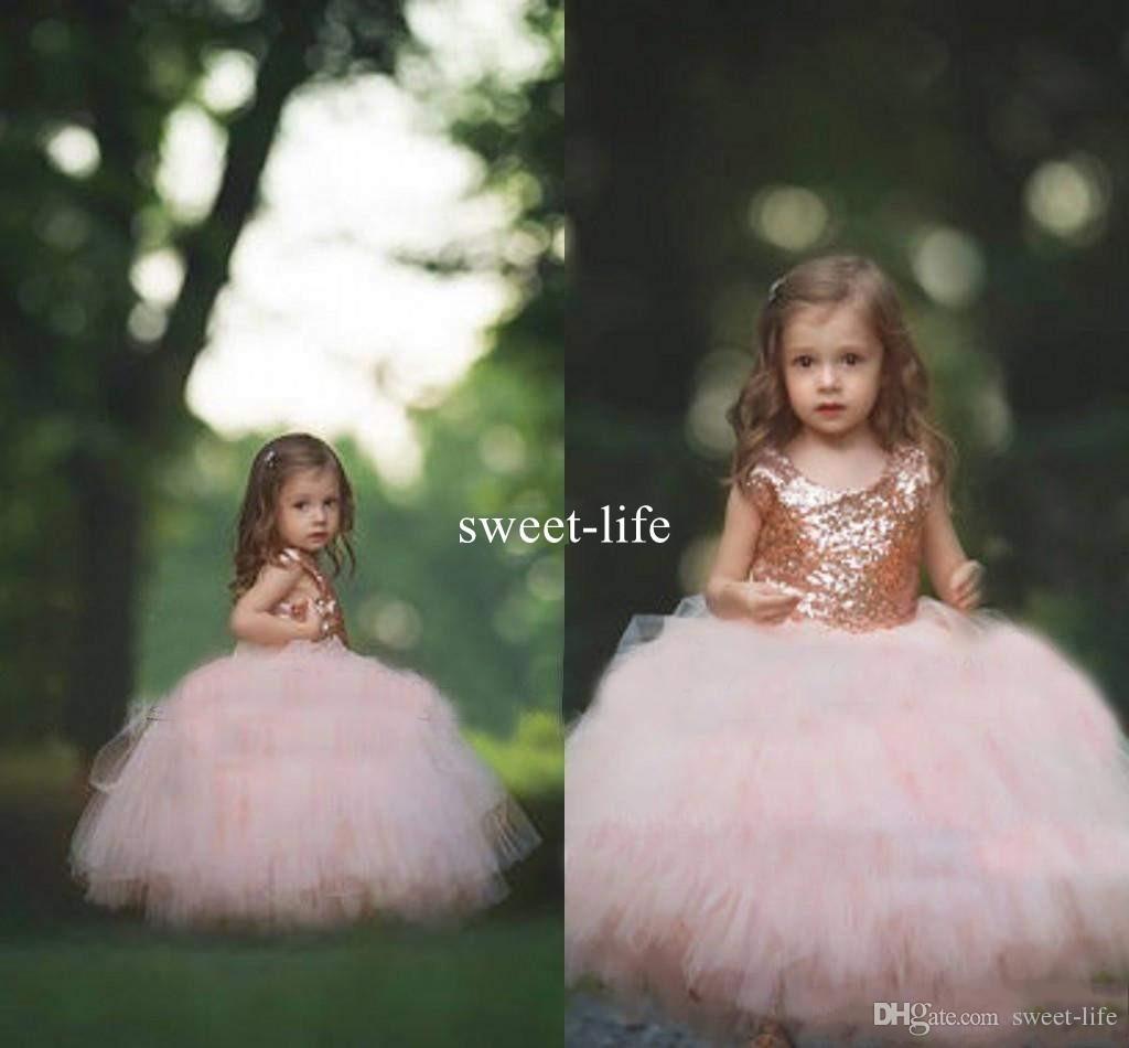 2020 Communion Dress Rose Gold Sequins Blush Tulle Ball Gown Flower Girls Dresses Cap Sleeve Puffy Little Girl Formal Party Dress