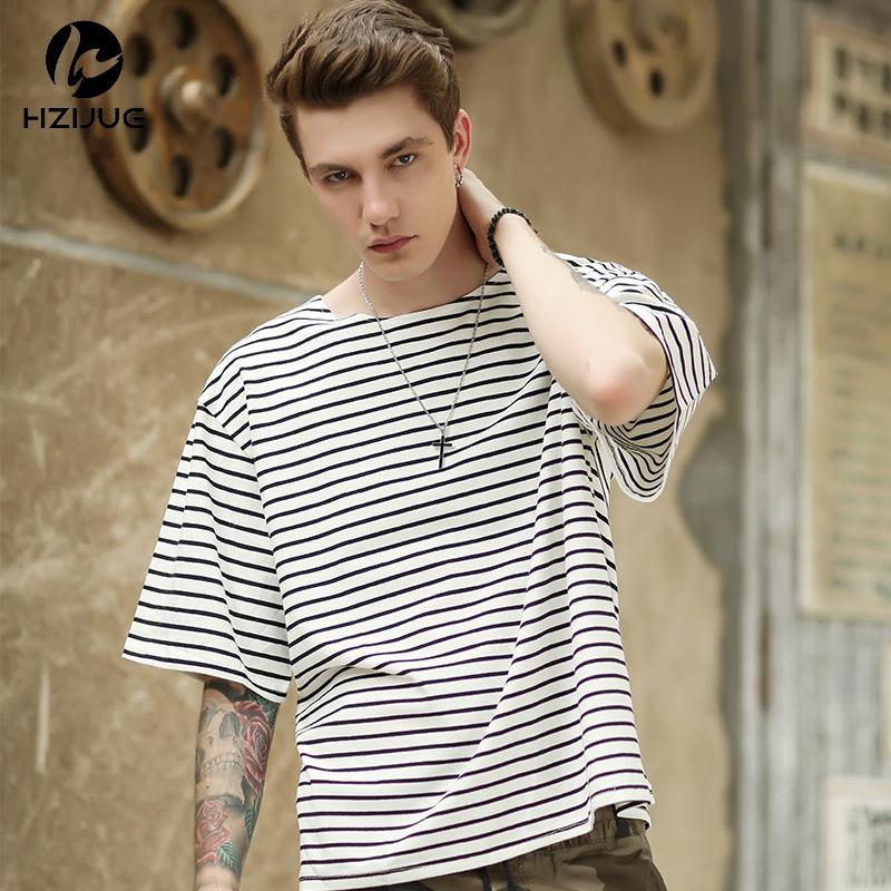 2adff91d8add8ff 2018 HZIJUE HIP HOP Brand New Summer Mens Stripe T Shirts Justin Bieber T  Shirts Men Cotton Kanye Half Sleeve Tee Tops Oversized Best T Shirts Shirts  Online ...