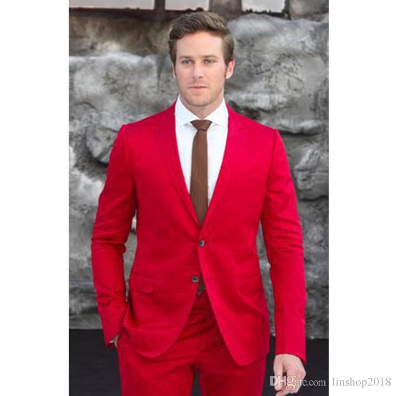 New Designer Casual Slim Fit Red Men Suits Custom Made High Quality Two Buttons Wedding Suits For Men(Jacket+Pants)