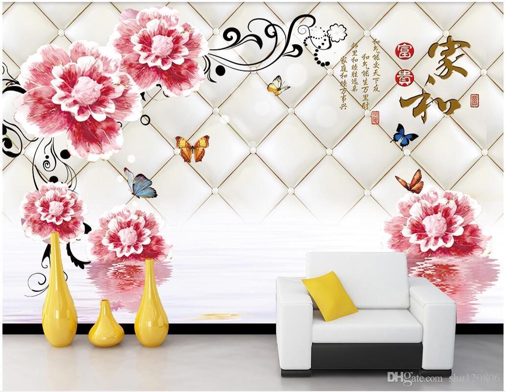 3d room wallpaper cloth custom photo Flores sala de estar moderna joyas de fondo pared 3d murales de pared de papel tapiz para paredes 3 d imprimir tela