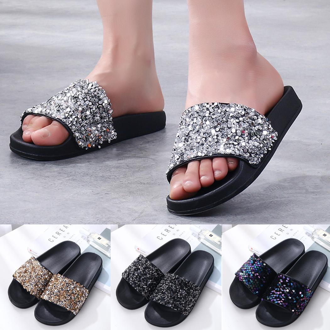 35eec7920415 Sexy Summer Women Slippers Rhinestone Bling Open Toe Slides Flat Home Flip  Flops Female Sparkling Crystal Shoes Beach Sandals Wide Calf Boots Shoes  For ...