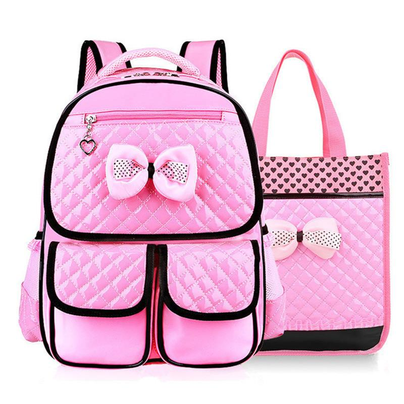 31a2ea4b3c Beautiful Pink Bow Girl School Bag Set High Quality Nylon Waterproof  Backpack Cute Girls Schoolbags Satchel Mochila Escolar Y18100805 Backpacks  Online ...