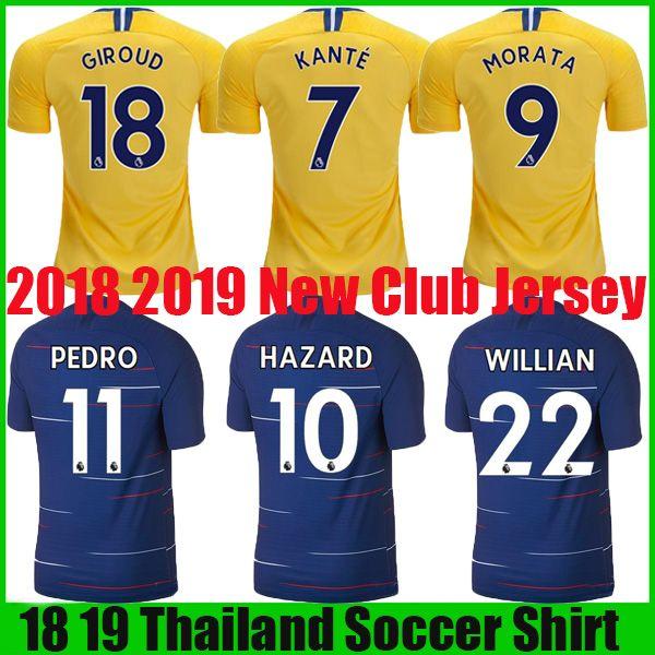 10 HAZARD 18 19 Home Soccer Jersey 2018 2019 MOROTA WILLIAN Club ... 946e3d0ac077d