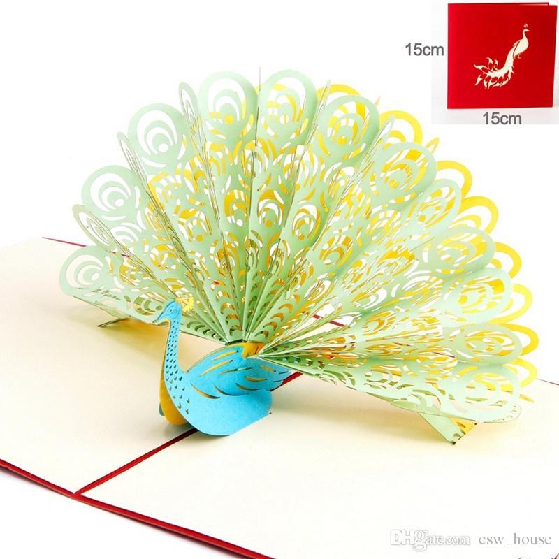 3D Tavuskuşu pop up tebrik kartı lazer kesim Retro zarflar kartpostal hollow oyma el yapımı teşekkür ederim davetiye Kirigami Origami