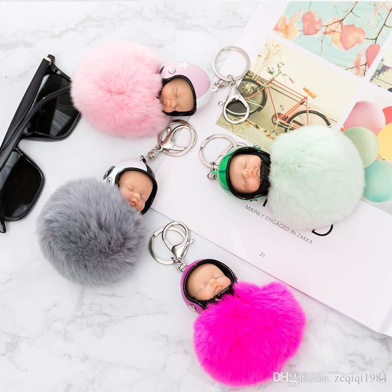 Cool Fluffy Rabbit Fur Pompom Motorcycle helmet Sleeping Baby Key Chain Women Rex Bunny Fur Doll Keychain Car Keyring Toy