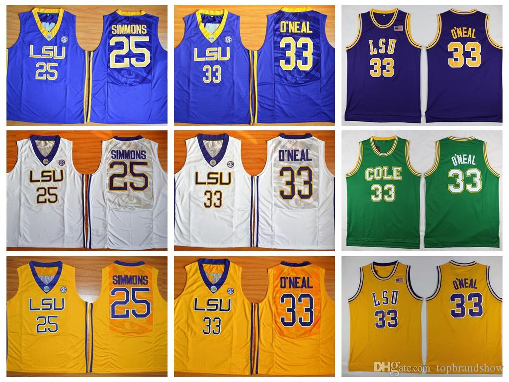 LSU Tigers College Basketball Jerseys  25 Ben Simmons Jersey  33 Shaquille  ONeal Jersey Uniforms O Neal Home Yellow Purple White Stitched Ben Simmons  Jersey ... d42a6cae9
