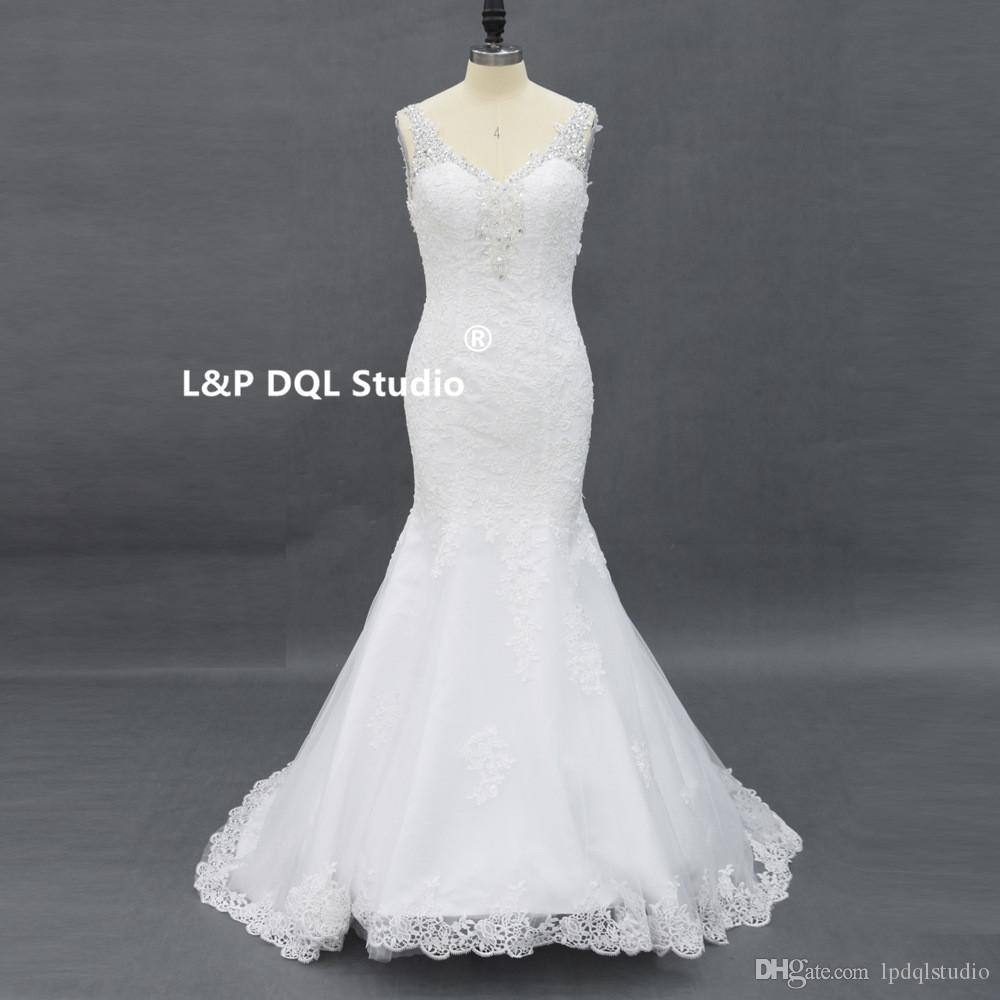 Elfenbein Spitze Plus Size Hochzeitskleid Mermaid Elfenbein Brautkleider Brautkleider V-Ausschnitt mit Perlen Pailletten Backless Sweep Zug nach Maß