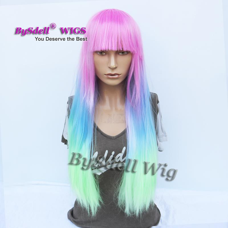 New Arrival Synthetic Long Straight hair wig colorful unicorn mermaid pastel ombre color hair wigs with neat bangs