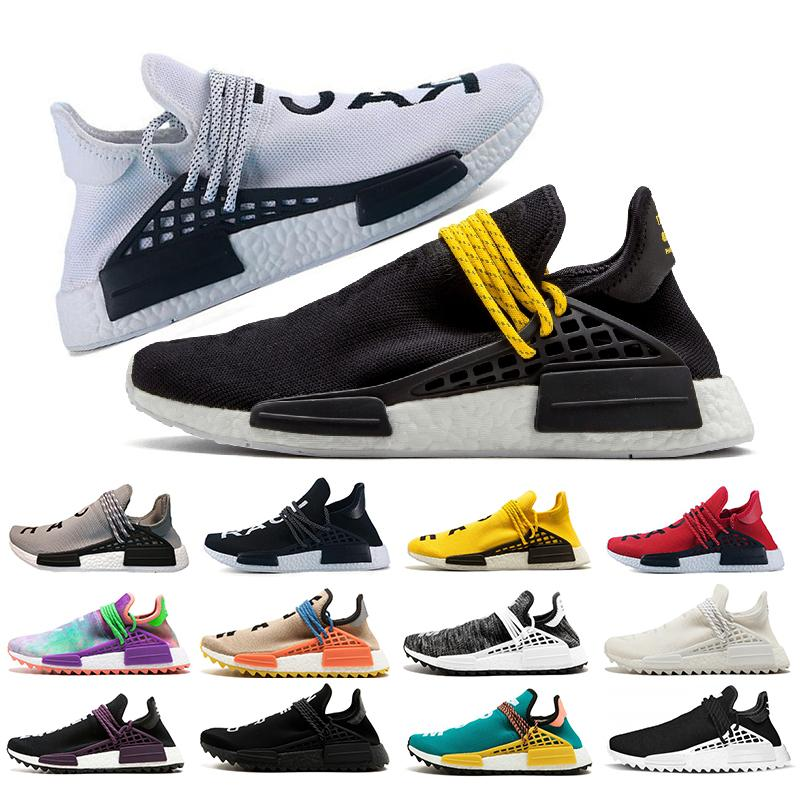 4d185898fb518 2018 Pharrell Williams Nmd Human Race Mens Designer Trainers Women Running  Shoes White Black Holi Sun Glow Cream Breathble Sports Sneakers White  Running ...