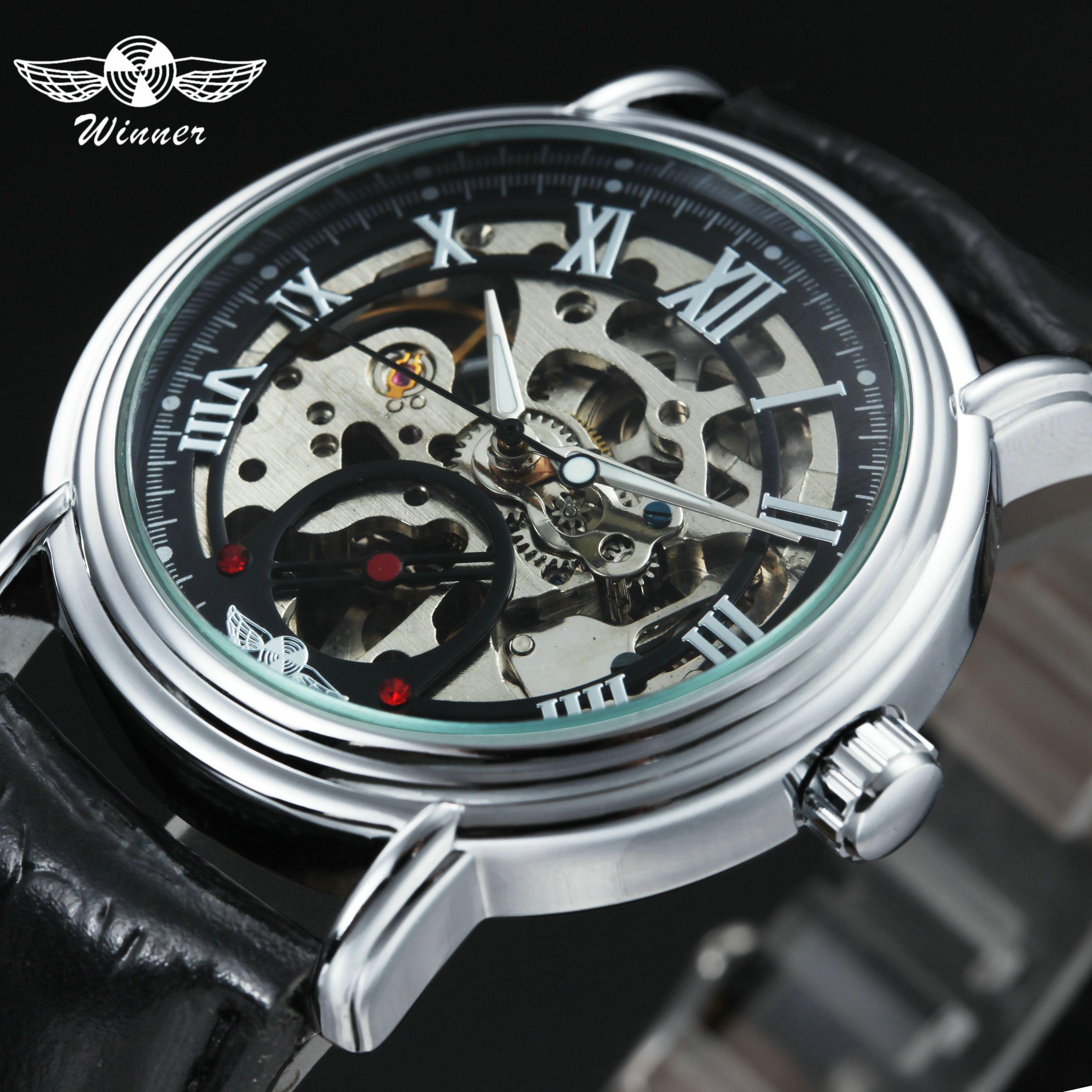 eddef5e1fb2 WINNER Classic Skeleton Auto Mechanical Watch Men Leather Strap ...