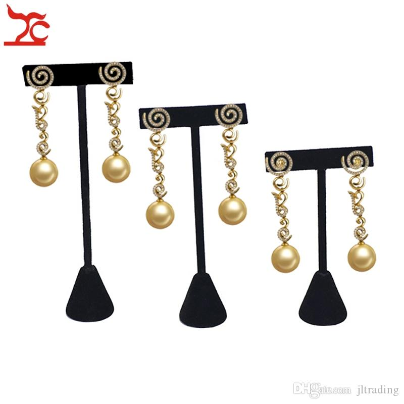 Wholesale Black Velvet Jewelry Display Rack Earring Tree T Bar Display Holder Stud Organizer Storage Showcase Stand