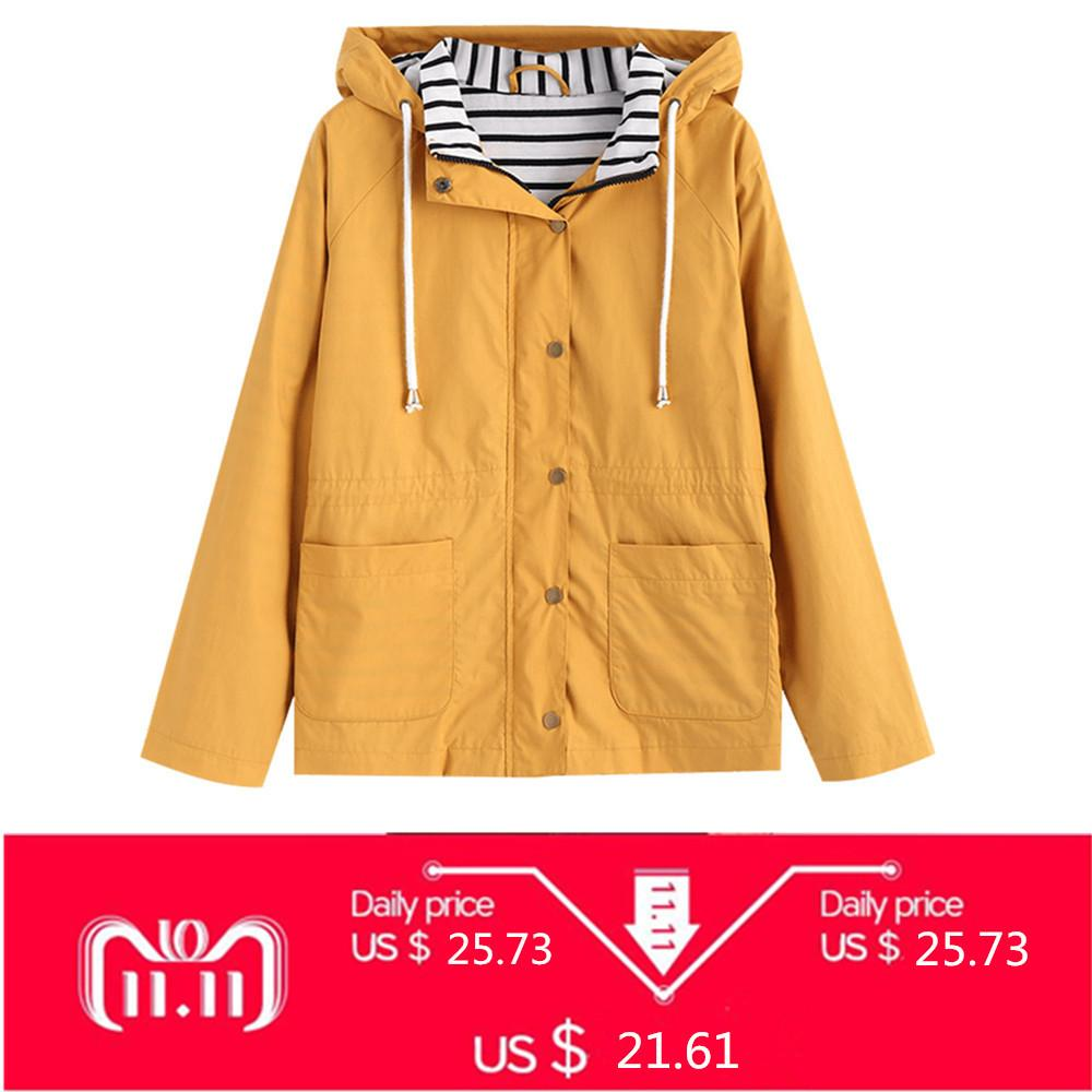 ZAN.STYLE Winter Warme Frauen Druckknopf Streifen Panel Kapuzenjacke Mantel Tasche Patched Kordelzug Basic Outwear Jacke Gelb C18110601