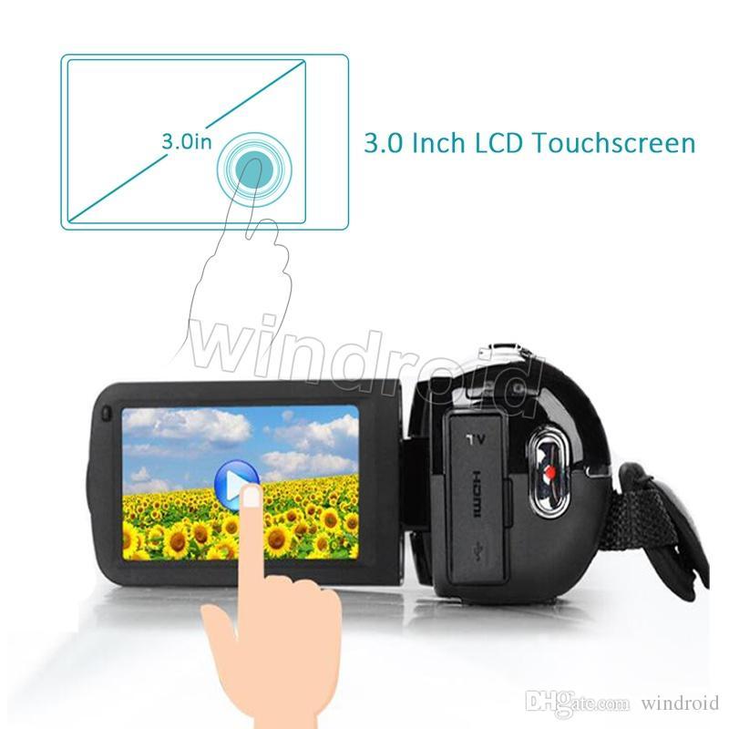 Caméscope numérique caméscope DV à 270 degrés avec écran tactile FHD 1080P 16X à zoom CMOS zoom 24MP rotatif avec télécommande
