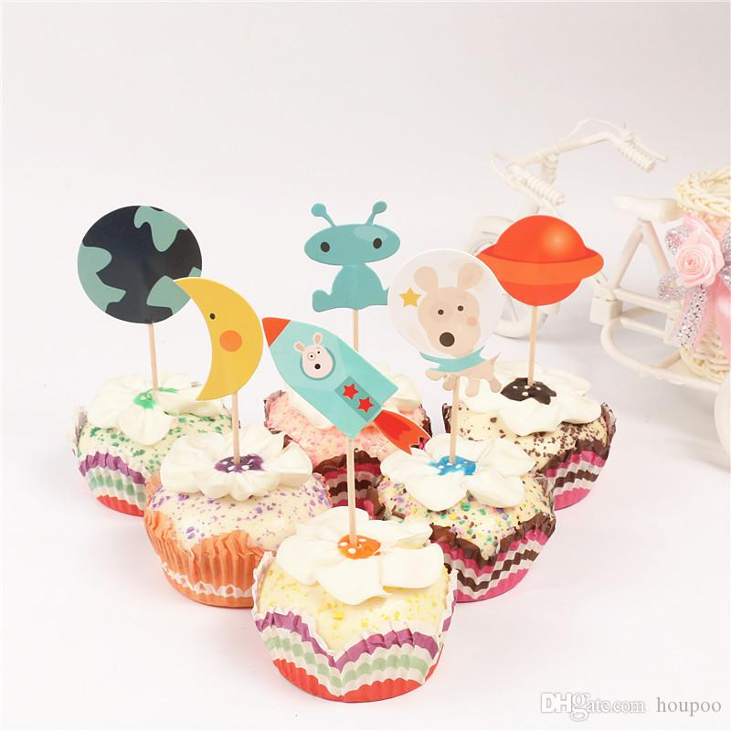 Cartoon Space Group Paper Cupcake Topper Wedding Decoration Centerpieces Kitchen Accessories Home Decor Party Supplies 2nd Birthday Themes 30th