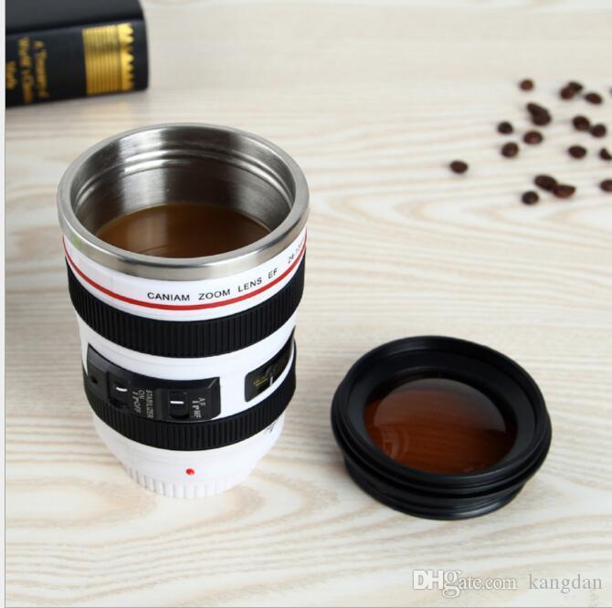 Tazza macchina fotografica creativa Tazza caffè Tazza in acciaio inox da 400ml Tazza da tè Tazza da 6 generazione Tazza da viaggio Tazza reflex Bottiglia Regali novità