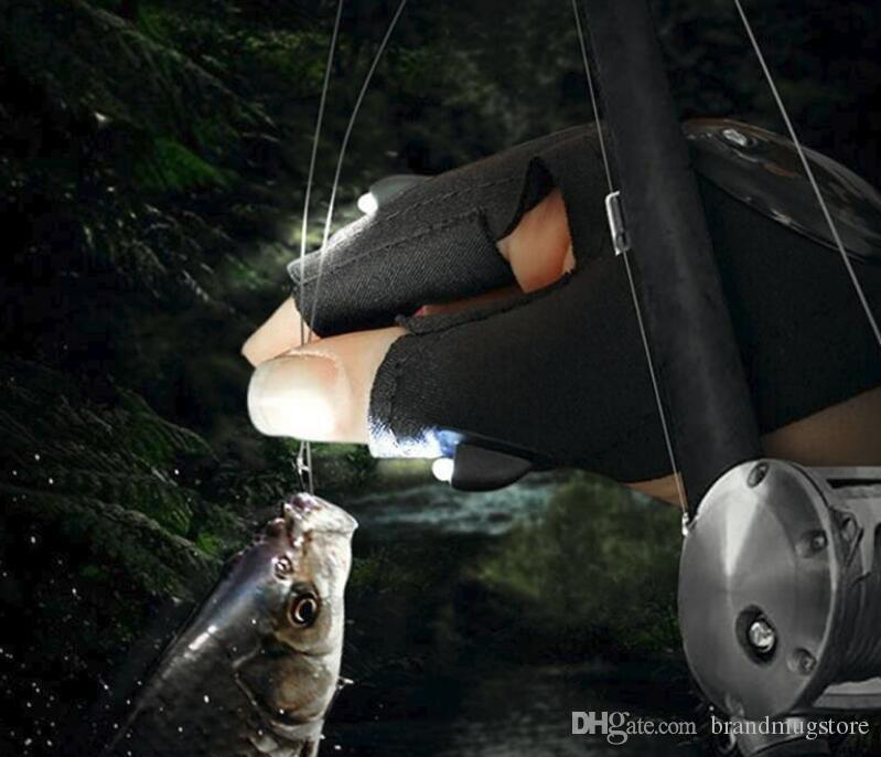 New Camping Hiking Fishing Rescue Gloves LED Flashlight Torch Lamp Outdoor Magic Strap Fingerless Gloves