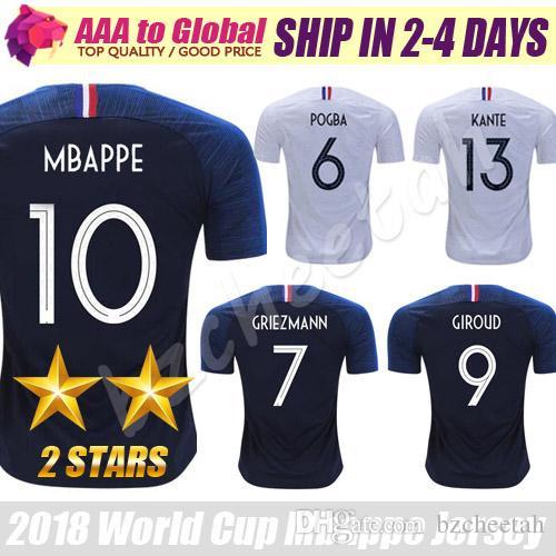 Compre Mbappe Camisa De Futebol 2 Estrelas Francaise Maillot De Camisa De  Pé 2018 19 Casa Fora Pogba Griezmann Giroud Zidane Camisa De Futebol Frete  Grátis ... a0331c0bfac01