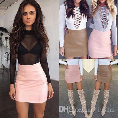 522c3bcb1fe44 2017 Women Sexy Bandge Leather Skirt High Waist Pencil Bodycon Short Mini  Skirt Short Mini Skirt Leather Skirt Mini Skirt Online with  29.15 Piece on  ...