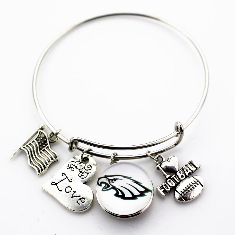 En gros 6 pcs / lot J'aime le football Alliage Charmes Philadelphia Eagles Football Sport Équipe Snap Bracelet Réglable Bracelet Bijoux