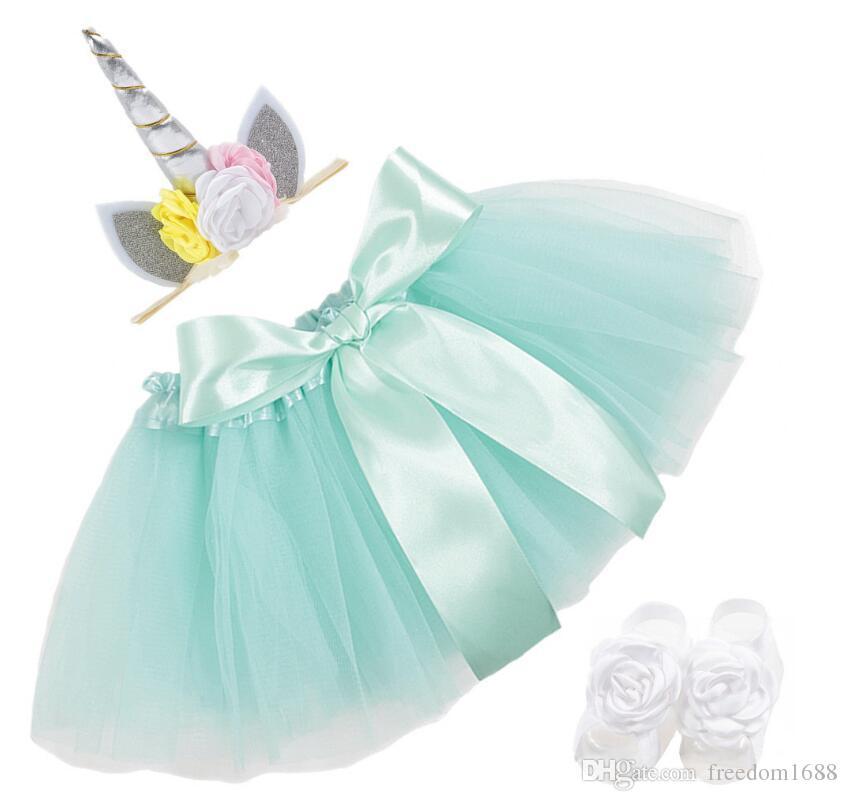 BABY INS Unicorn TUTU falda + accesorios para el cabello de los niños + correa para el pie de encaje de verano decoración de la flor del arco falda corta niños se visten