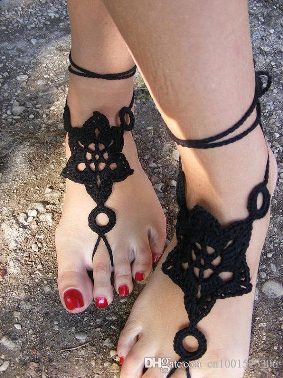 Sandalias Descalzas De Ganchillo A Mano Negra, Zapatos Desnudos Joyas, Boda, Encaje Victoriano, Sexy, Tobilleras De Algodón, Calzado De Playa.