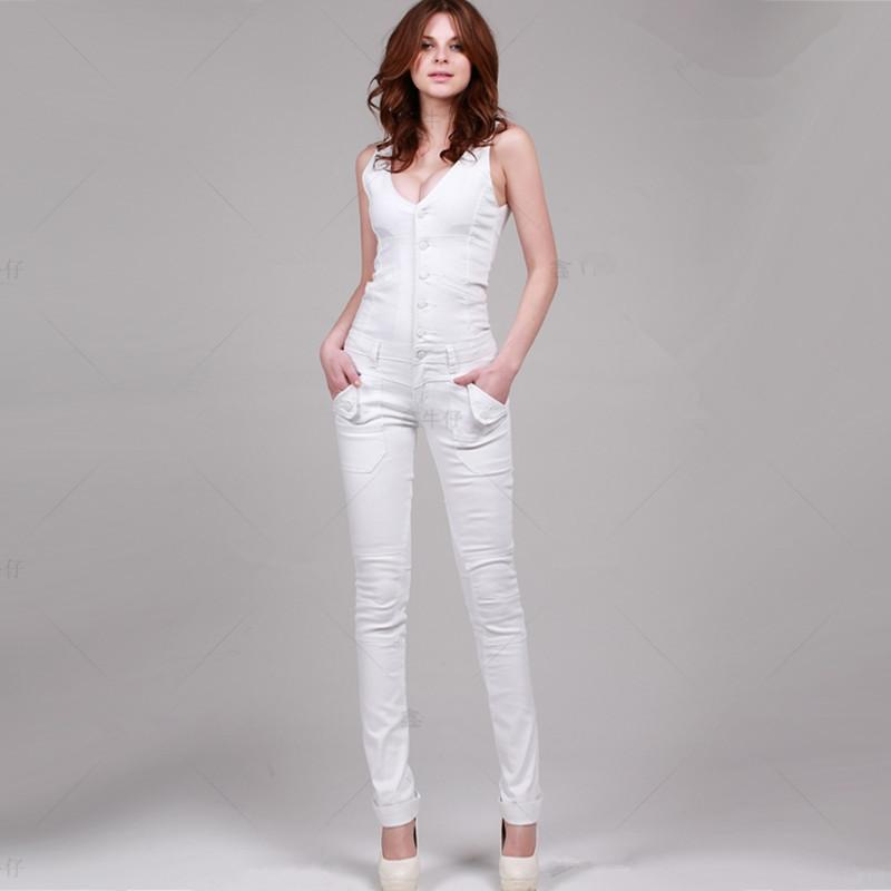 c9b64e96eb9e 2019 2018 New Fashion Sexy Double V Neck White Long Romper Pants For Women  High Quality Denim Jeans Skinny Jumpsuits L From Wangleme011