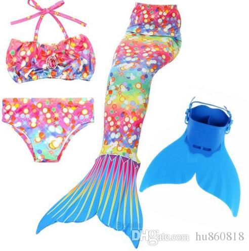 2018 Newest Princess Ariel Children Baby Girls Mermaid Tails for Swimming  Costume Swimmable Mermaid Tail with Monofin Kids Child
