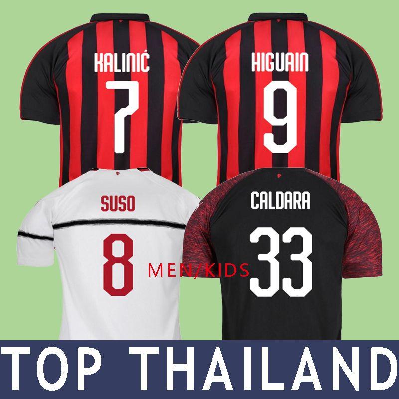 18 19 Higuain AC Milan Soccer Jerseys Football Shirt BONUCCI KESSIE ANDRE  SILVA CONTI Men Kids 2019 Milan CALHANOGLU KALINIC Cutrone Maillot AC Milan  Online ... 777d6aeeb378f