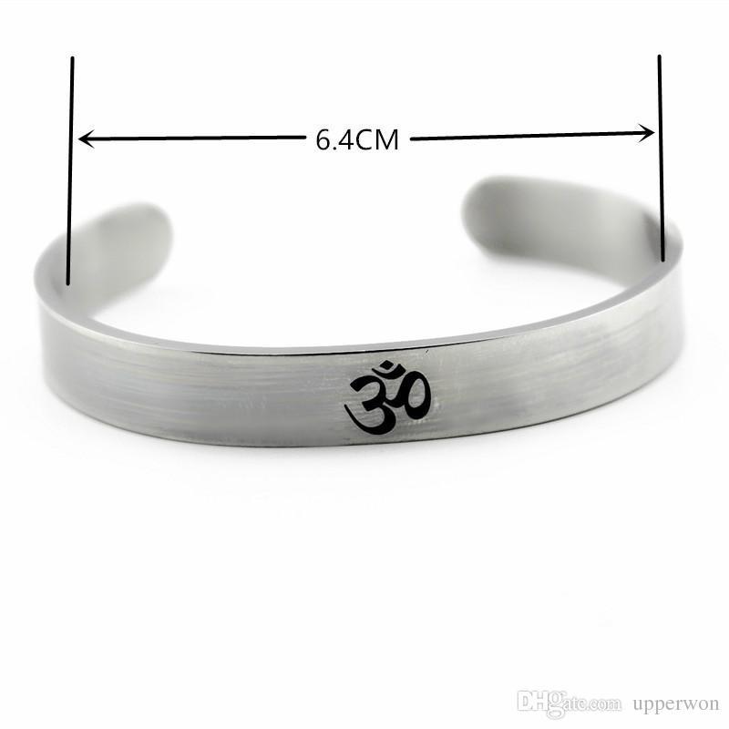 New Silver Tone AUM OM Ohm Hindu Buddista Induismo Yoga India Bracciale in acciaio inossidabile Bracciale apertura bracciale uomo donna