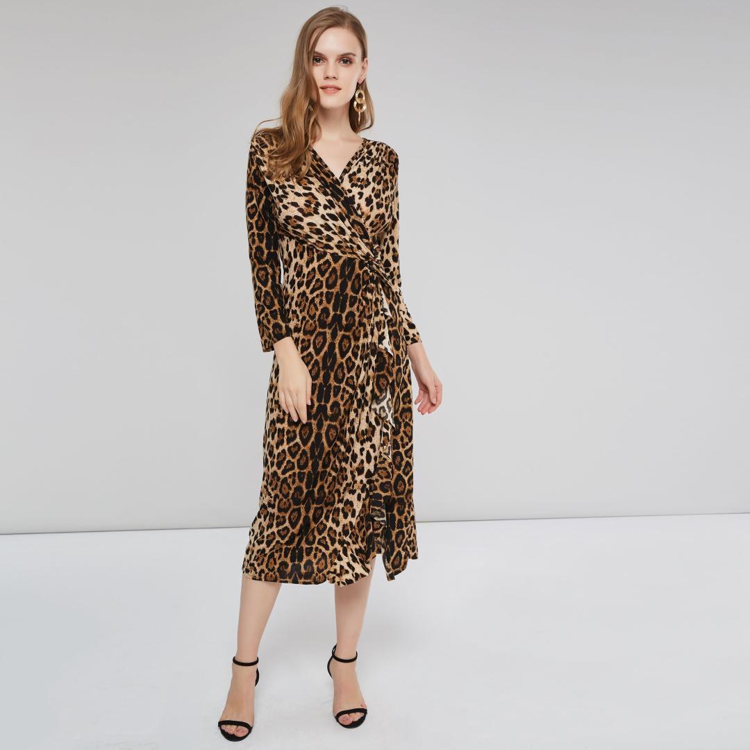 4157b05b7 Compre 2018 Invierno Casual Sexy High Street Tallas Grandes Vestidos De  Mujer Recta Cintura Alta Leopard Falbala Plisado Simple Vestido Elegante A   26.31 ...