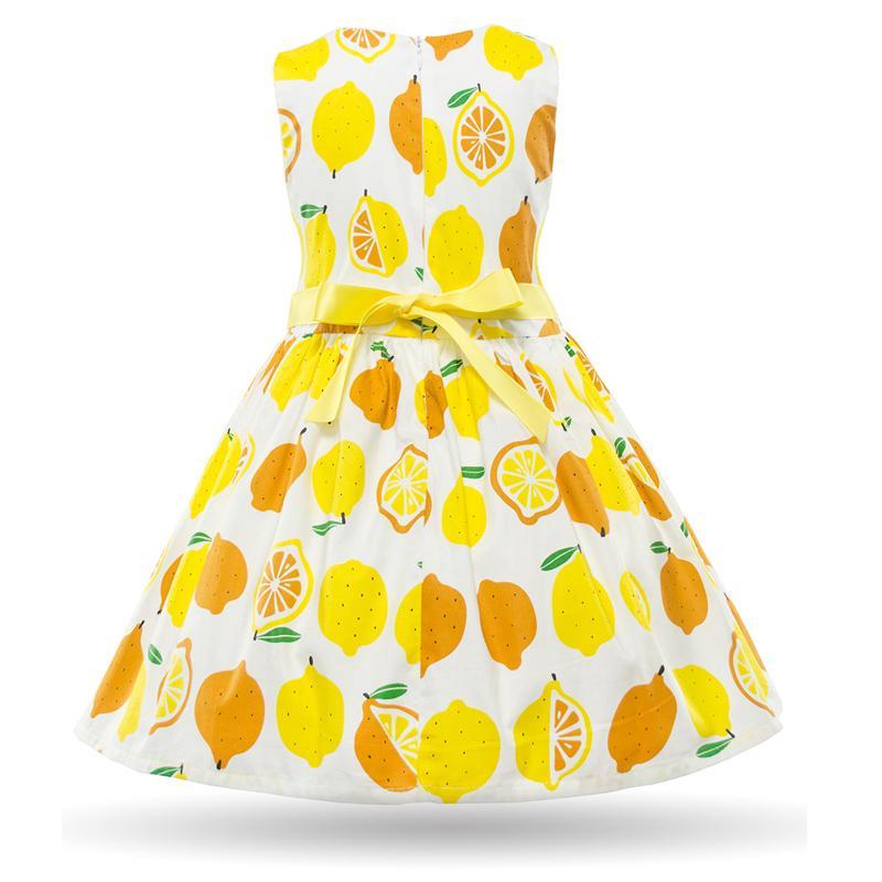Cielarko Summer Girls Dresses Kids Cotton Sleeveless Lemon Yellow Dress Baby Casual Beach Sundress Children Fruit Design Costume