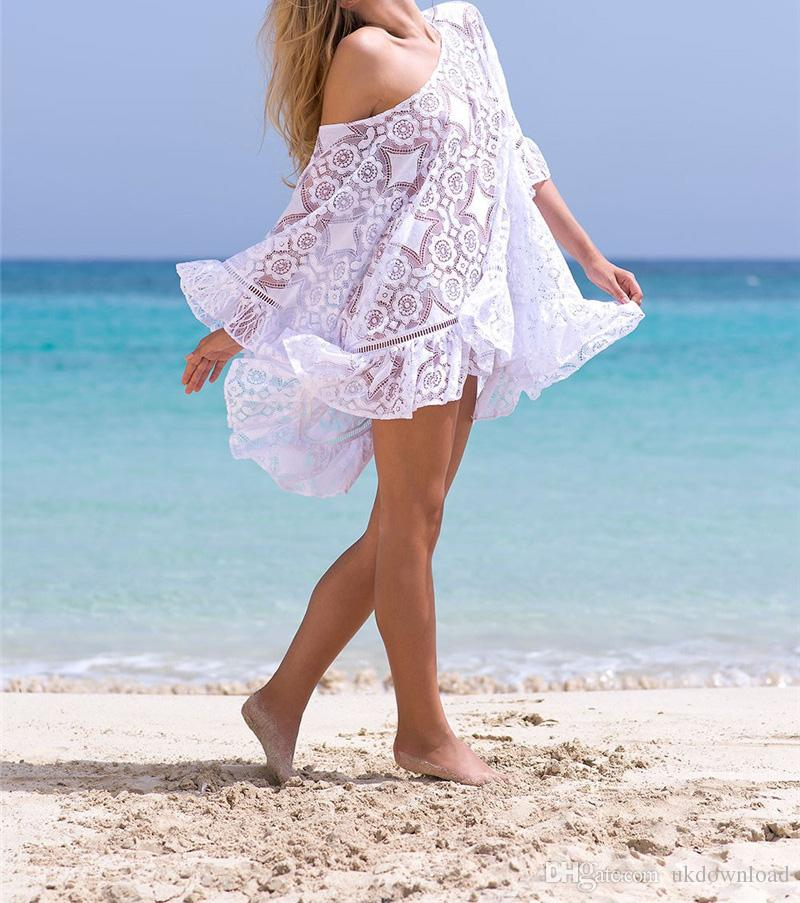 f675701b1a520 2019 2018 Summer Lace Cover Up Tunic For Beach Swim Suit Women Wwimwear Bathing  Suit Cover Ups Kaftan Swimsuit Cover Up Pareo Beach From Ukdownload
