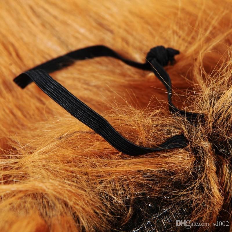 Traje de mascota Adornos para el pelo Perro Gato León Melena Pelucas Mantener el sombrero de la cabeza caliente para la decoración de Halloween 16yy4 B