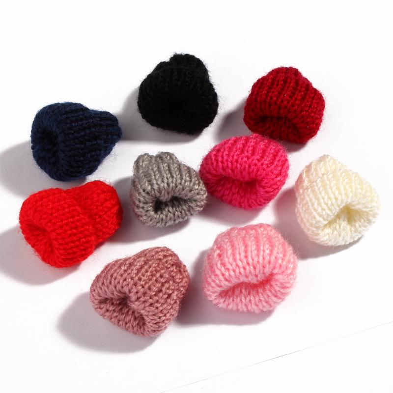 30PCS Mini Sweet Knitting Wool Flower Candy for Kids Hair Accessories Newborn Handmade Cute Woolen Yarn Hat for Women Clothing