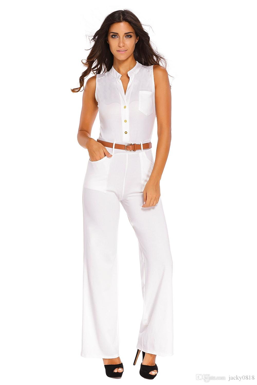 2019 Fashion Big Women Sleeveless Maxi Overalls Belted Wide Leg