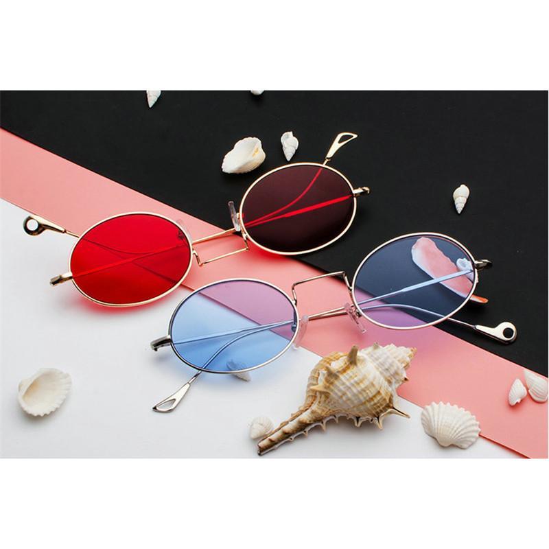 364d84b8ba30 MINCL Small Oval Sunglasses Small Size Men Male Black Round Metal Frame Sun  Glasses For Women Red Lens Sunglasses With Box FML D18102305 Cheap Designer  ...