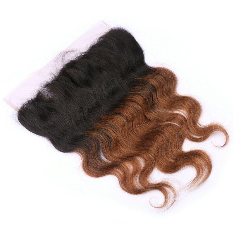 Two Tone 1B 30 Auburn Ombre Brasilianische Haarbündel mit Schnürverschluss vorne Braun Blonde Körperwelle Ombre Menschliches Haar gewebt und Frontal