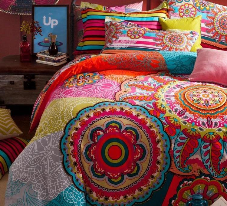 Vintage Colorful 100 Cotton Bedding Set Boho Bohemian King Queen