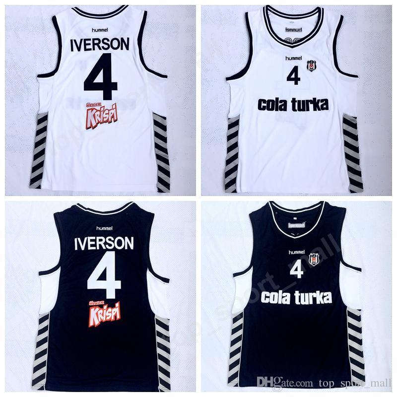 New Style Men 4 Allen Iverson Besiktas Cola Turka Basketball Jerseys Of Turkey Turkish Black Team White Away Stitched Sports Uniforms Sale