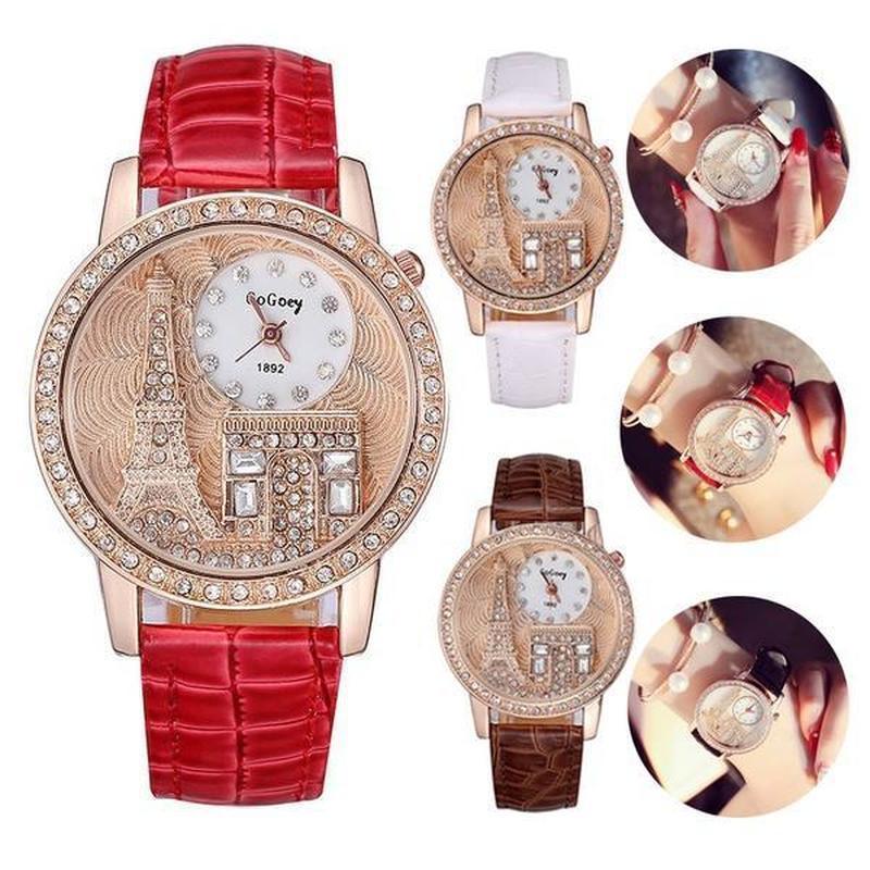 b64dd1b91cc Compre Funique Relógios De Pulso De Quartzo Moda Casual Paris Pulseira De  Couro De Luxo Senhoras Relógio De Moda Mulheres Pulseira De Aço Inoxidável  De ...