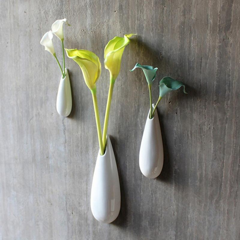 DHgate.com & 3pcs/set Lovely White Modern Ceramic Wall Vase Set Drop Style Flower Wall Gift DIY Home Decor Brief Flower Vase Crafts Hot Sale