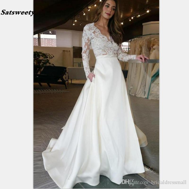 Chic Long Wedding Dress With Illusion Long Sleeves Lace See Through Top A line Bridal Dress Wedding Gowns Custom Made