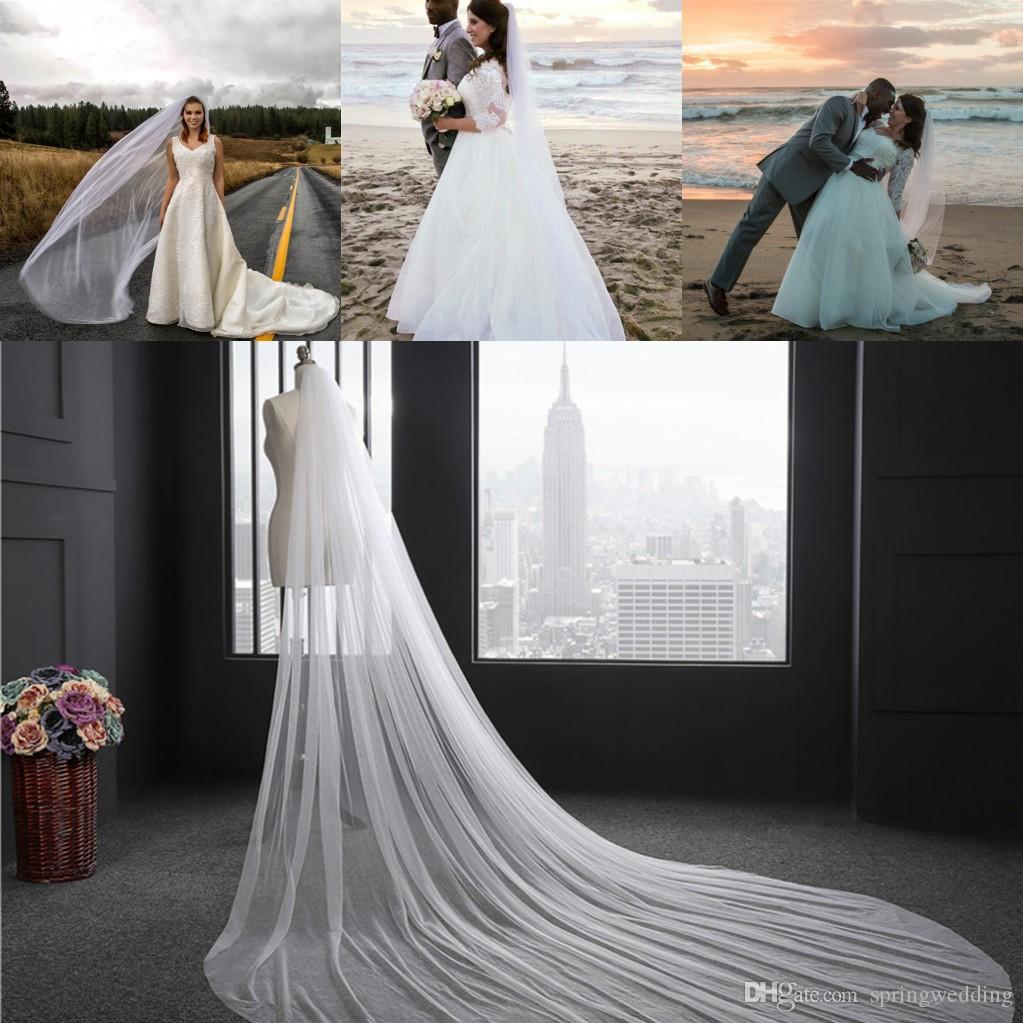 In Stock Bridal Accessories White Ivory Bridal Veils 3 Meters Long With Comb One Layer Wedding Veil CPA078
