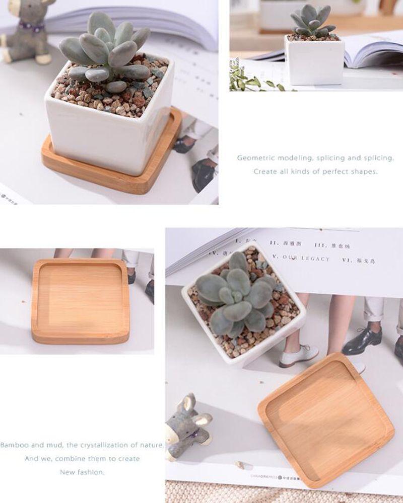 Простой белый творческий мини-суккулентное растение керамика под прямым углом маленькая квадратная спичка бамбука уход Zakka горшок плантатор